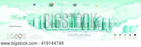 Travel Saudi Arabia Top World Modern Skyline And Famous City Architecture. Modern Business Brochure