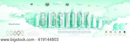 Travel Qatar Top World Modern Skyscraper And Famous City Architecture. Modern Business Brochure Desi