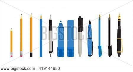 Flat Vector Illustration Of Various Pens, Pencils, Markers And Highlighters. Isolated On White Backg