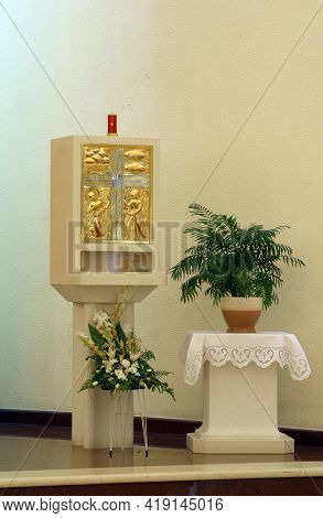 ZAGREB, CROATIA - SEPTEMBER 03, 2014: Tabernacle in the parish church of St Matthew in Dugave, Zagreb, Croatia