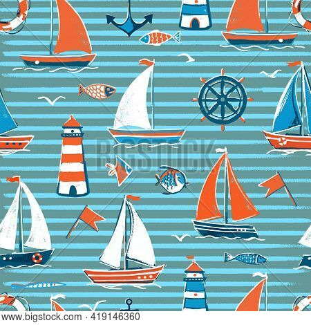 Vector Seamless Pattern On The Sea Theme In Blue Stripes. Sailboats On The Sea With A Lighthouse, Fi