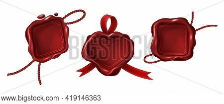 Red Blank Wax Stamps Different Geometric Shapes With Rope And Ribbon. Vintage Seals For Letter, Guar