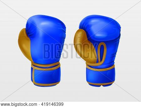 Realistic Blue Pair Leather Boxing Gloves. Sport Equipment To Protecting Hands In Fist Fight. Boxer