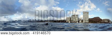 Panoramic Of Waikiki, Kaimana Beach, And Diamond Head Crater Seen From The Ocean With Dog Swimming I