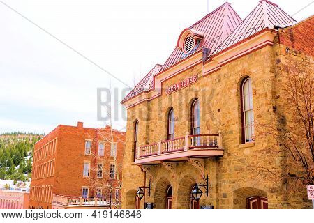 April 25, 2021 In Central City, Co:  Vintage Stone Opera House Building Which Was Built In 1878 Take