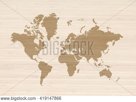 World Map Isolated On Beige Wooden Wall Background