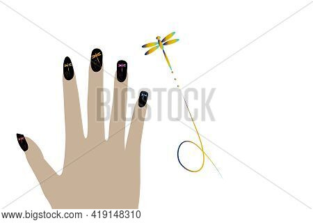 Fashion Fingernails Isolated On White Background And Textures. Dragonfly Figure Paint Pattern.
