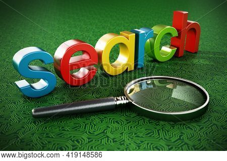 Search Engine Text And Magnifying Glass Isolated On White Background. 3d Illustration.