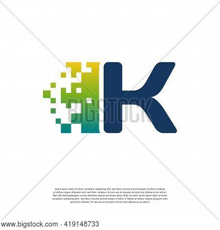 K Initial Tech Logo Vector, Cool Initial Pixel Logo Template Vector