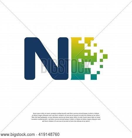 N Initial Tech Logo Vector, Cool Initial Pixel Logo Template Vector