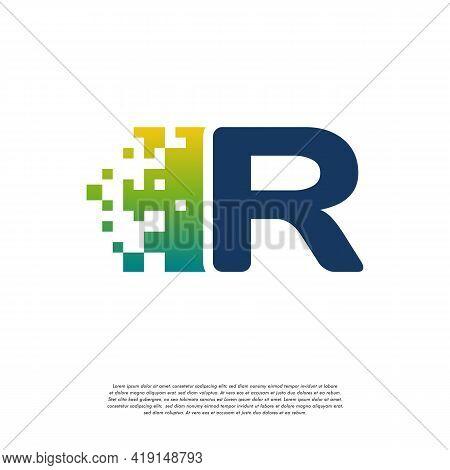 R Initial Tech Logo Vector, Cool Initial Pixel Logo Template Vector