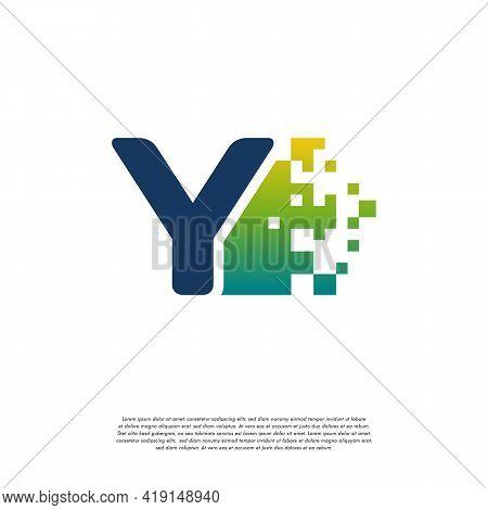 Y Initial Tech Logo Vector, Cool Initial Pixel Logo Template Vector