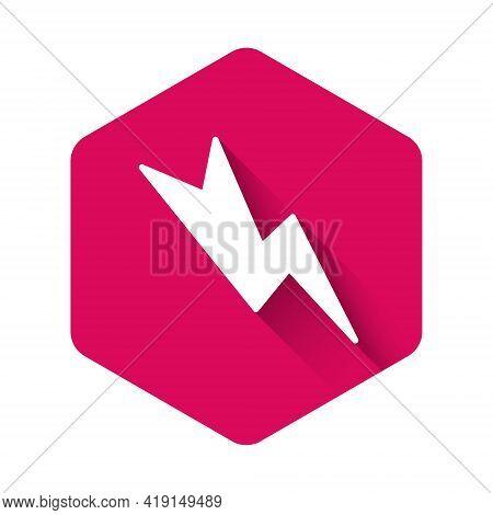 White Lightning Bolt Icon Isolated With Long Shadow. Flash Sign. Charge Flash Icon. Thunder Bolt. Li