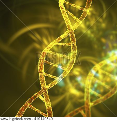 Molecule Of Dna, Double Helix, 3d Illustration. Gene Therapy, Genetic Mutation And Genetic Disorders