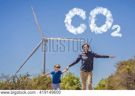 Reducing Co2 Levels. Graph Of The Decline In Carbon Dioxide Levels. Alternative Energy, Wind Farm An