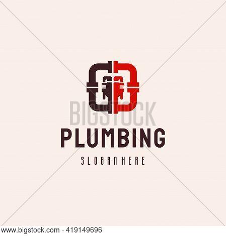 Plumbing Service Logo Hipster Retro Vintage Vector Template