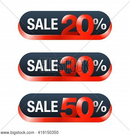 Sale Tags Set - 20, 30, 50 Percents Off Red Badge With Different Percentage - Isolated Promo Web But
