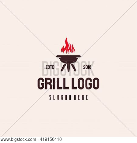 Grill Food Logo Hipster Retro Vintage Vector Template, Barbecue Logo Template