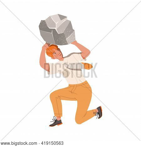 Redhead Male Bended Under Heavy Load As Stressed Out Office Employee Feeling Deadline Vector Illustr
