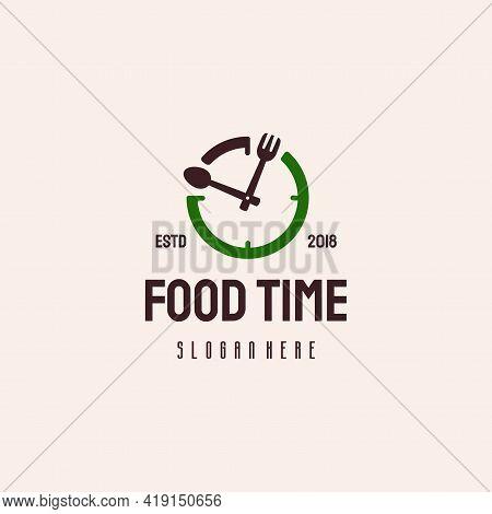 Food Time Logo Hipster Retro Vintage Vector Template, Restaurant Logo