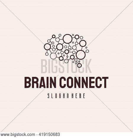 Brain Connect Logo Designs Concept Vector, Brain Tech Logo Template, Robotic Brain Logo Hipster Retr