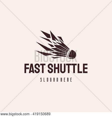 Fast Shuttlecock Logo Designs Concept Vector, Badminton Logo Symbol Hipster Retro Vintage Vector Tem