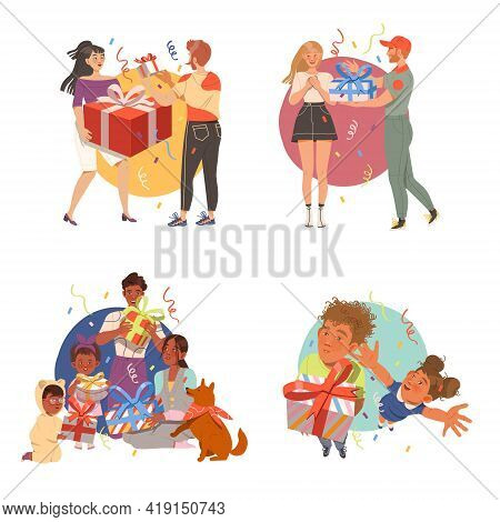 People Characters Giving Gifts To Each Other Celebrating Special Occasions Like Birthday Or Holidays
