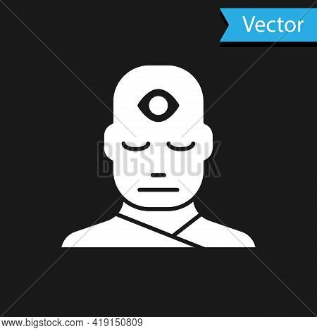 White Man With Third Eye Icon Isolated On Black Background. The Concept Of Meditation, Vision Of Ene