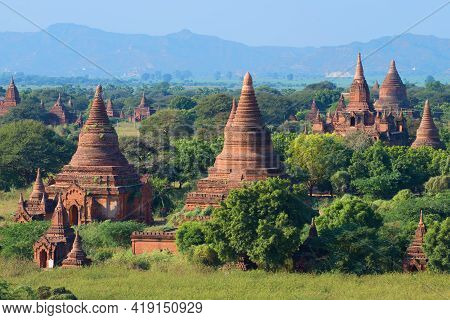 Sunny Landscape With Ancient Buddhist Temples Of Bagan. Burma