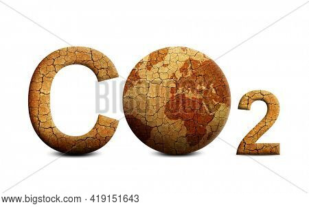 Parched planet earth and text CO2 isolated on white background. Global warming or change climate concept. Environmental problems. Growing Carbon Dioxide in the atmosphere.