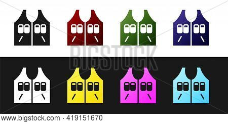 Set Hunting Jacket Icon Isolated On Black And White Background. Hunting Vest. Vector