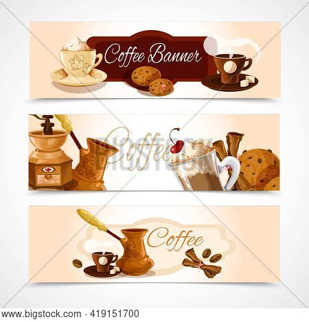 Coffee Colored Horizontal Banners Set With Latte Frappe Espresso Cappuccino Isolated Vector Illustra