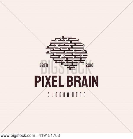 Pixel Brain Logo Hipster Retro Vintage Vector Template, Head Tech Logo, Robotic Brain Logo