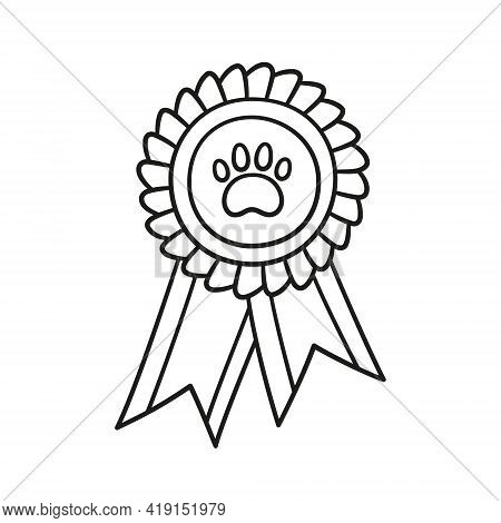 Dog Award Rosette Doodle Icon. Hand Drawn Medal With Dog Footprint As Pets Exhibition Winner Concept