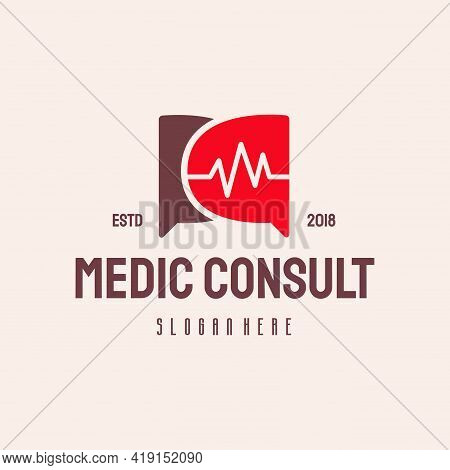 Medical Consult Logo Hipster Retro Vintage Vector Template, Health Consult Logo