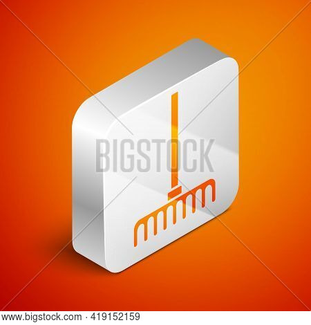 Isometric Garden Rake Icon Isolated On Orange Background. Tool For Horticulture, Agriculture, Farmin