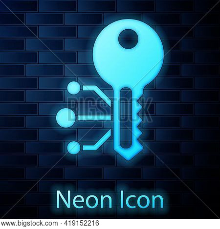 Glowing Neon Cryptocurrency Key Icon Isolated On Brick Wall Background. Concept Of Cyber Security Or