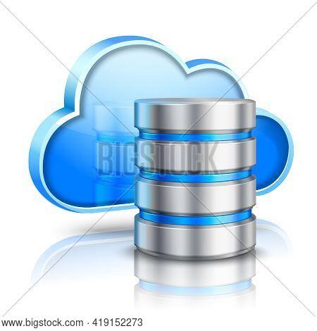 Network Data Server 3d Cloud Computing Concept Realistic Vector Illustration