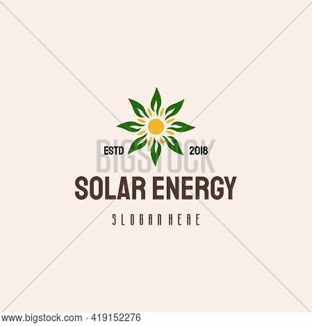 Solar Energy Logo Hipster Retro Vintage Vector Template, Solar And Leaf Logo