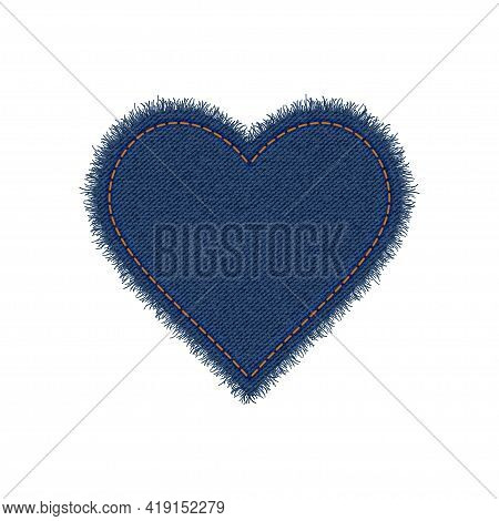 Denim Heart Shape With Seam. Torn Jean Patch With Stitches. Vector Realistic Illustration On White B