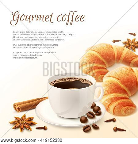 Breakfast With Gourmet Coffee With Spices And Croissant Background Vector Illustration