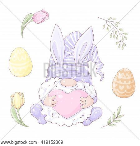 Set Of Cute Cartoon Gnome In A Hare Costume. Easter