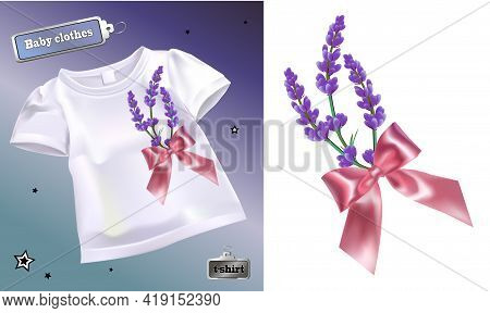 Realistic Vector Illustration Of Children's T-shirt With A Pattern. Isolated Image Of A Bouquet Of L
