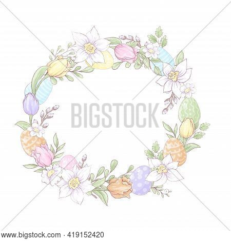 Set For Easter. Spring Flowers And Colorful Eggs