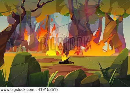 Fire In Camping And Burning Forest. Concept Of Natural Disaster, Ecology Catastrophe. Vector Cartoon