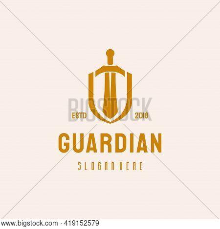Shield And Sword Logo Hipster Retro Vintage Vector Template, Guardian Logo