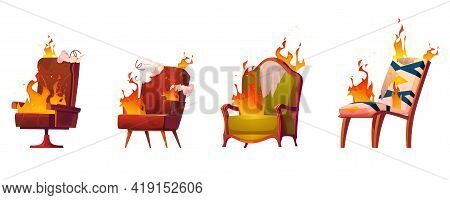 Burning Broken Chairs And Armchairs, Old Junk Furniture In Fire, Defected Home Interior Objects With