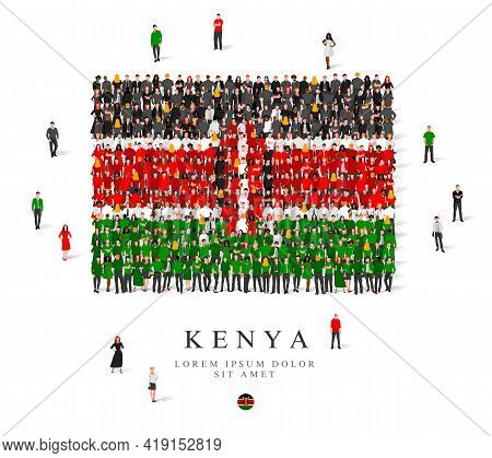 A Large Group Of People Are Standing In Black, Green, White And Red Robes, Symbolizing The Flag Of K