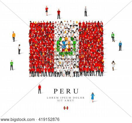 A Large Group Of People Are Standing In White And Red Robes, Symbolizing The Flag Of Peru. Vector Il