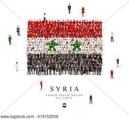 A Large Group Of People Are Standing In Black, Green, White And Red Robes, Symbolizing The Flag Of S